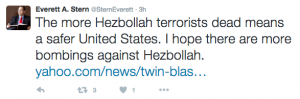 """""""Ne kadar çok Hizbullah teröristi öldürülürse, ABD o kadar güvenli olur. Umarım Hizbullah'a karşı daha fazla bombalı saldırı gerçekleştirilir."""""""