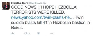"""""""İyi haberler! Umarım Hizbullah teröristleri öldürülmüştür."""""""