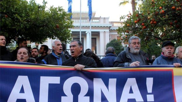 Atina'da PAME önderliğinde protesto