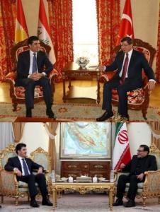 Neçirvan Barzani'nin Türkiye ve İran seyahatlerinde yaptığı görüşmelerde önemli fark hemen göze çarpıyor. İran, Irak Kürdistan Bölgesel Yönetimi bayrağını kullanmazken Türkiye'deki görüşmelerde Barzani'nin dediği gibi Kürdistan bayrağı dalgalanıyor.