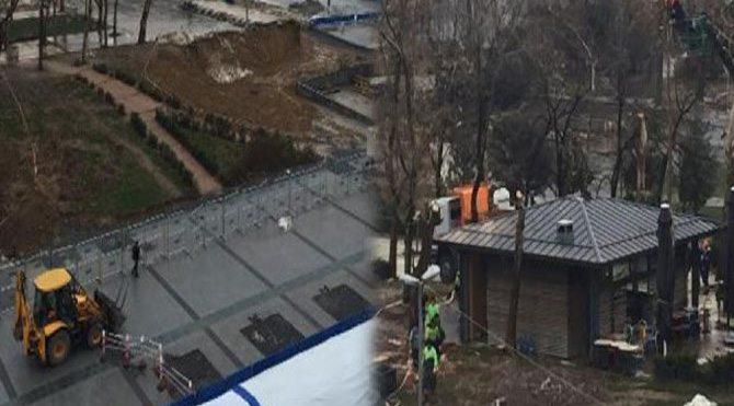Gezi Parkı'ndaki ağaçların kesildiği iddiası