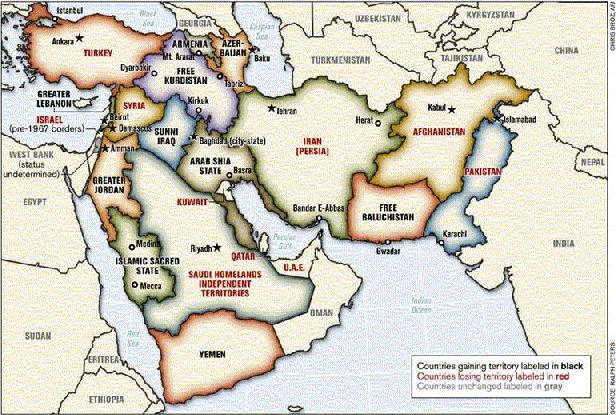 Büyük Ortadoğu Projesi Akdeniz'den Hindistan'a kadar tüm bölgenin yeniden biçimlendirilmesi olarak ortaya konuyordu.