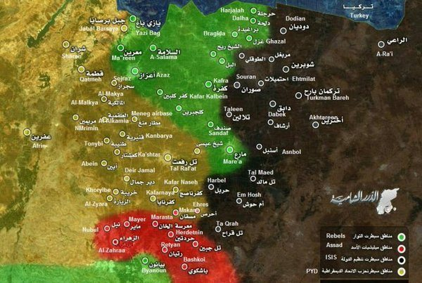 Geçtiğimiz bir hafta içerisinde Suriye ordusu ve YPG'nin ilerleyişi (Kırmızı alanlar Suriye devletinin denetimindeki bölgeleri, yeşil alanlar Nusra Cephesi gibi cihatçı çetelerin kontrolündeki bölgeleri, sarı alanlar Kürt bölgelerini ve siyah alanlar IŞİD'in elindeki bölgeleri gösteriyor)