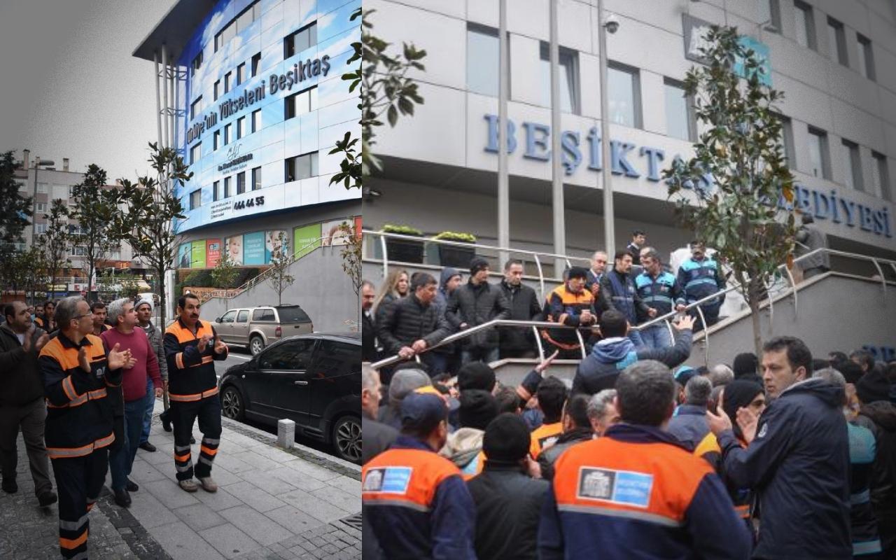 Temizlik işçilerinden Beşiktaş Belediyesi önünde eylem