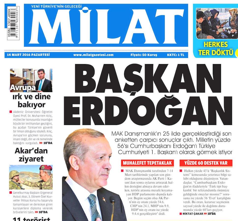 Ultra yandaş Milat gazetesi Ankara saldırısı manşeti: Başkan Erdoğan