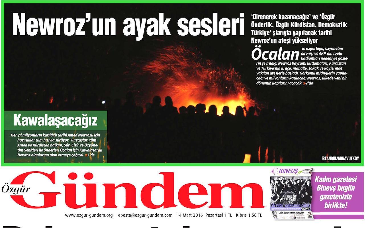 Özgür Gündem'in manşetine soruşturma açıldı