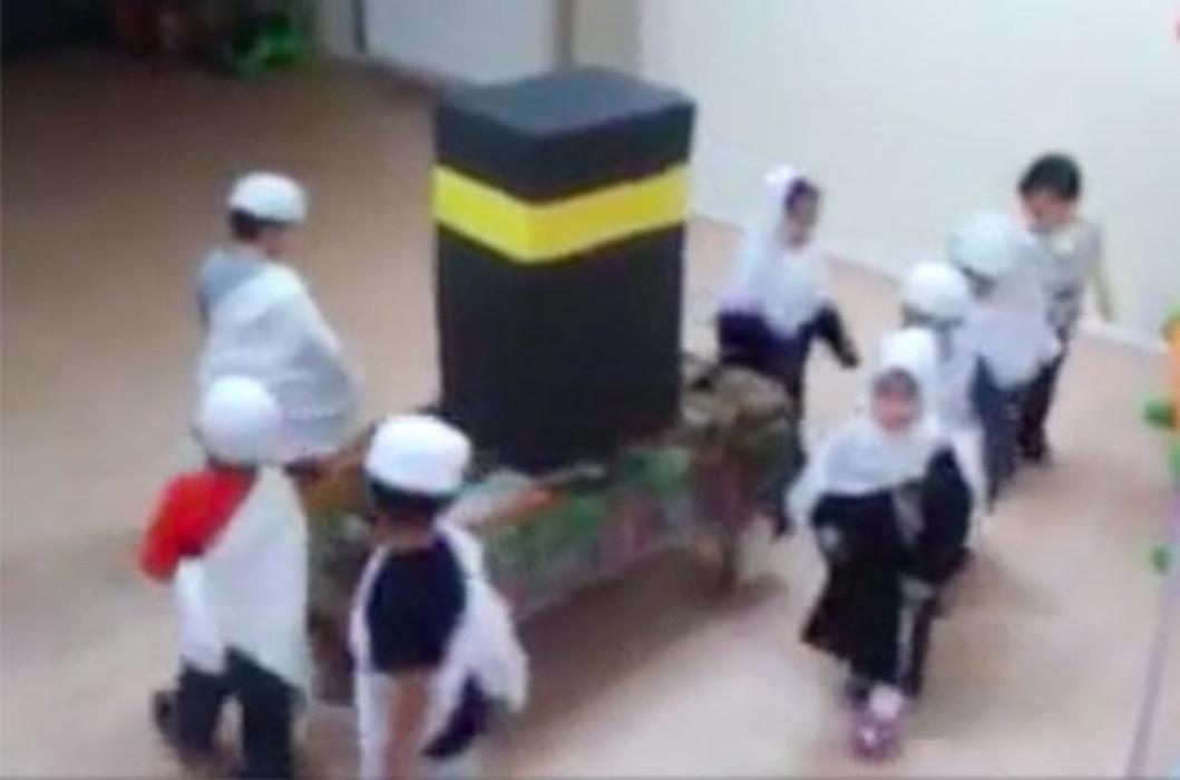 VİDEO | Kreşte maket Kabe: Çocukları etrafında döndürüp