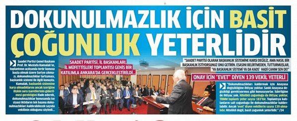 "Saadet Partisi'nden Erdoğan'a ""can simidi"""