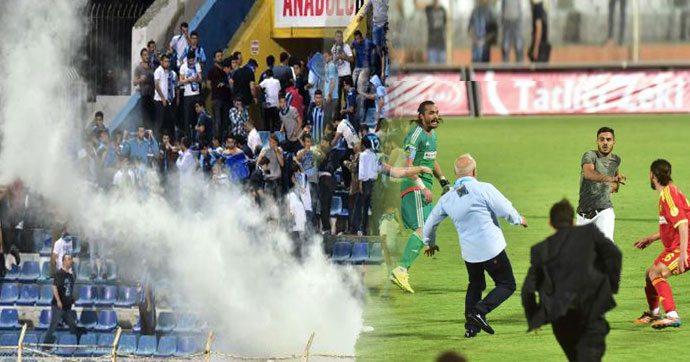 Maç sonrası saha içinde ve dışında olaylar çıktı