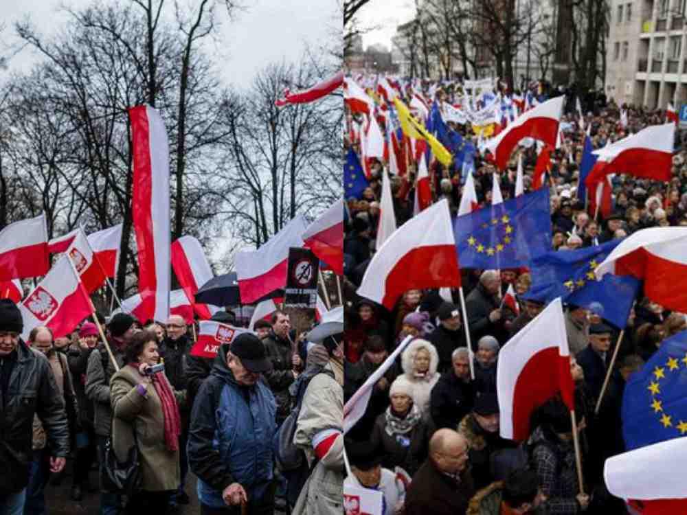 Polonya'da hükümet destekçileri ve karşıtları sokaklarda