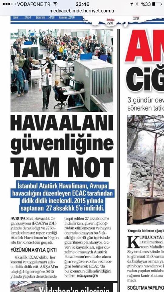 Yandaş basın o haberi biraz önce kaldırdı: Havalimanı güvenliği tam not almış