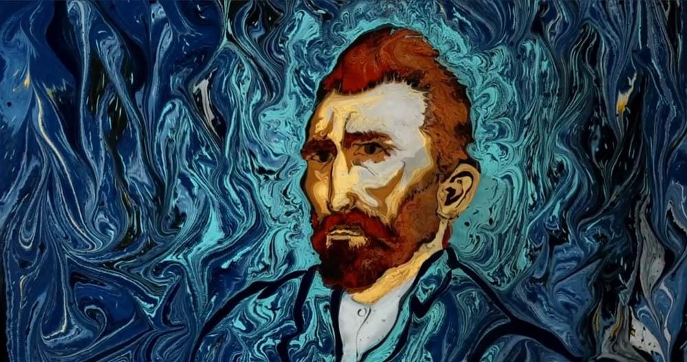 VİDEO | Siirt'li sanatçı, Van Gogh'un 'Yıldızlı Gece'sini ebru sanatıyla buluşturdu