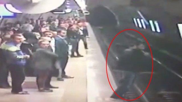 VİDEO | Taksim metrosundaki intihar girişiminin görüntüleri
