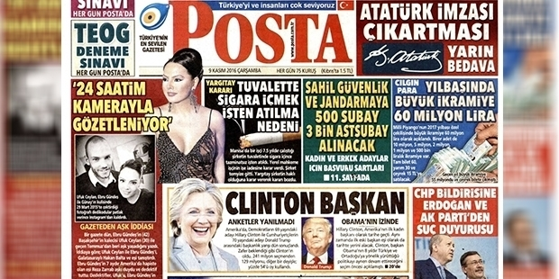 Clinton'u başkan yapan Posta gazetesinden özür: Taşradan gelen oyları beklemedik...