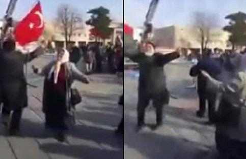 VİDEO | 'Şehitlere saygı' yürüyüşünde göbek attılar...