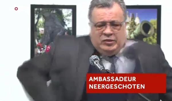 VİDEO | Rus Büyükelçi'nin vurulma anı ve sonrası (rahatsız edici görüntüler)