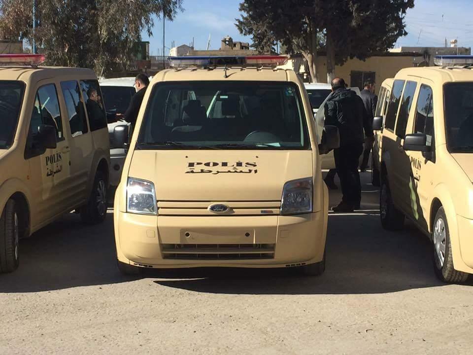 Cerablus'ta Türkiye'ye ait polis arabaları