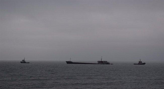 Zeytinburnu açıklarında bir gemi yan yattı