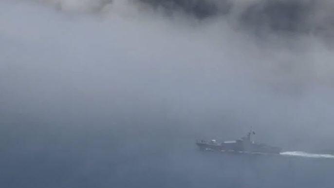 Kilyos açıklarında Rus savaş gemisi ile yük gemisi çarpıştı: Çok sayıda asker denize düştü