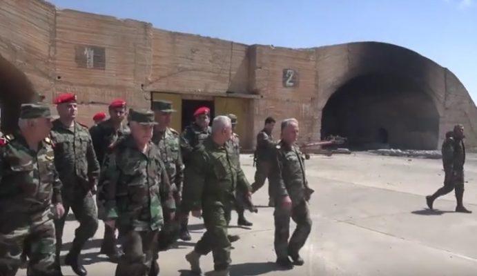 VİDEO | Suriye Genelkurmay Başkanı Amerika'nın saldırdığı Şayrat Hava Üssü'nde