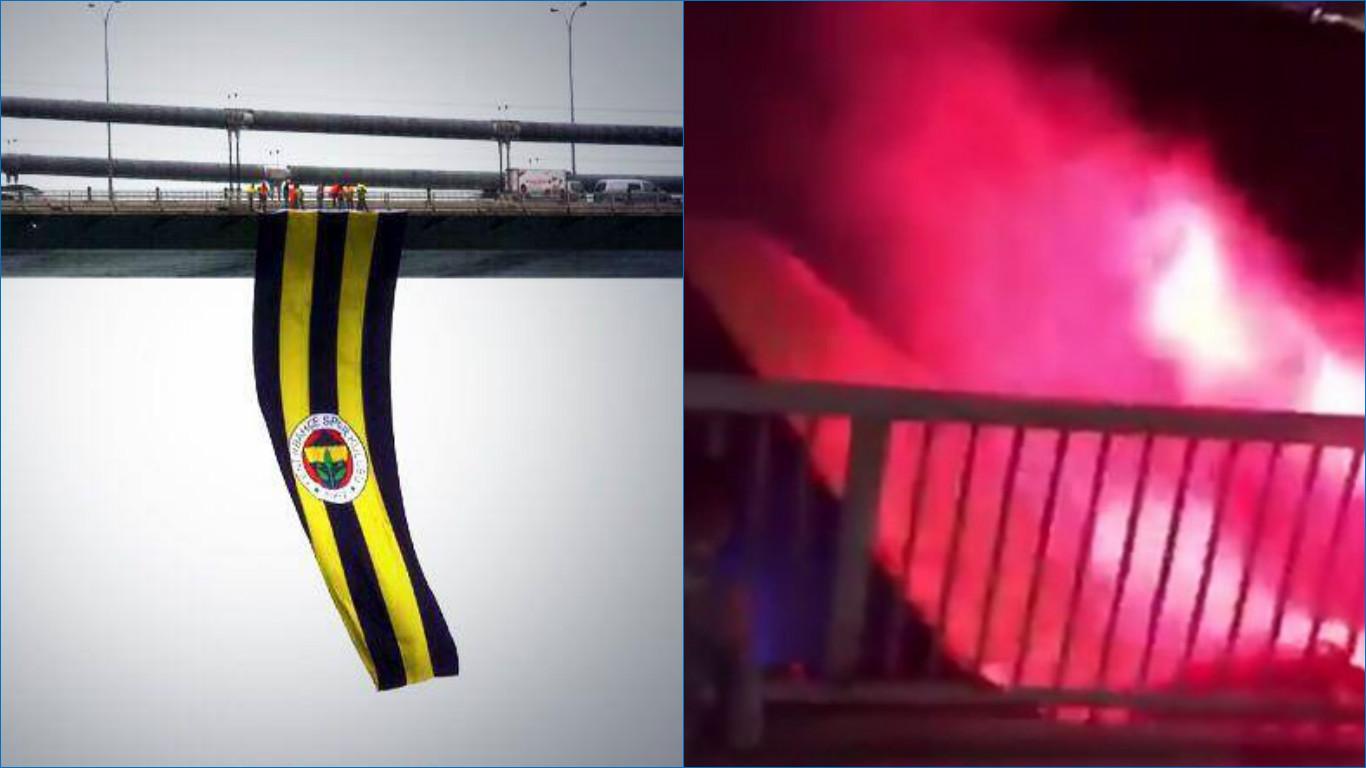 VİDEO | Köprüde asılı Fenerbahçe bayrağı yakılıp denize atıldı