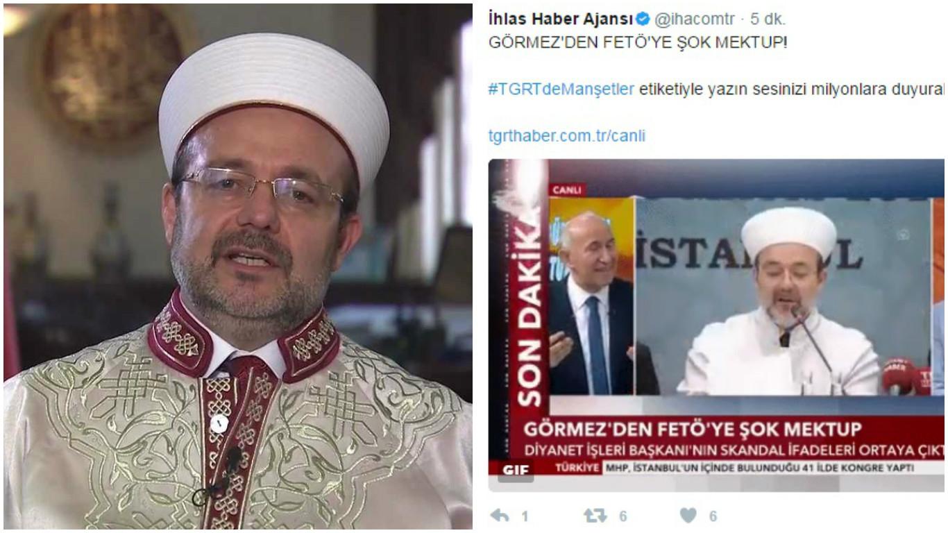 Diyanet Başkanı Görmez'e istifa çağrısı: Gülen'e yazdığı imza sözlerini paylaştılar