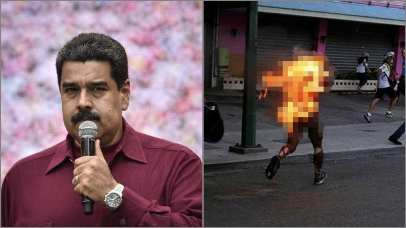 Maduro soruyor: Her gün Venezuela hakkında konuşanlar yakılan genç için ne diyor?