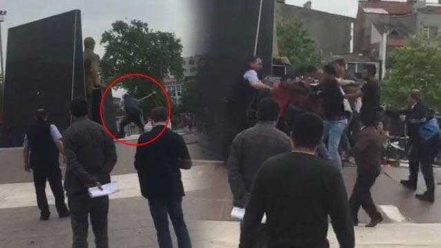 VİDEO | Atatürk anıtına baltayla saldırı!