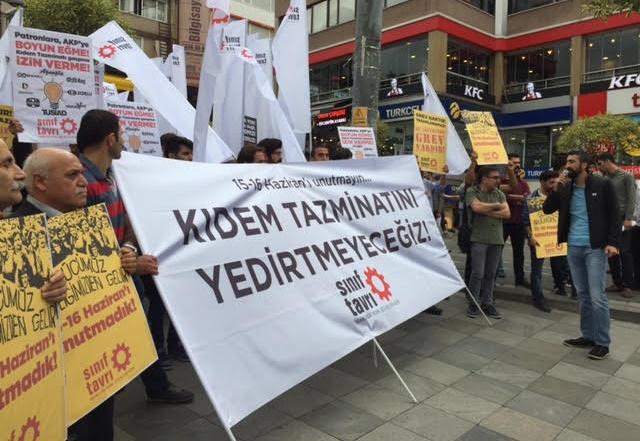 İşçiler, 15-16 Haziran'ın yıldönümünde kıdem tazminatının gaspına karşı eylemdeydi