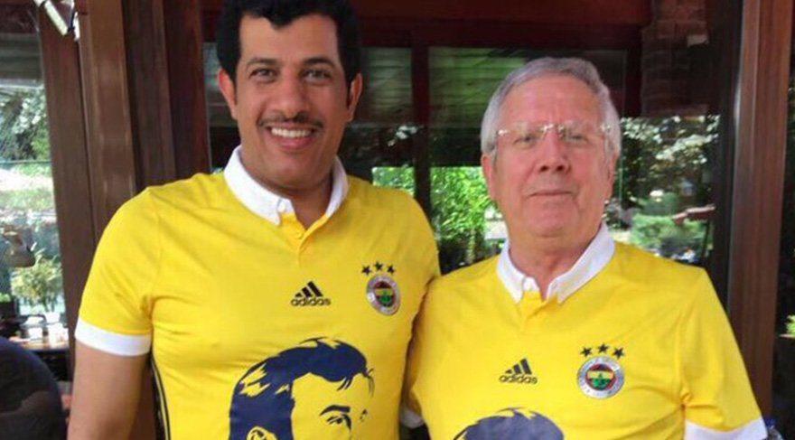 Aziz Yıldırım, Katar Emiri'nin portresini taşıyan Fenerbahçe forması giydi!