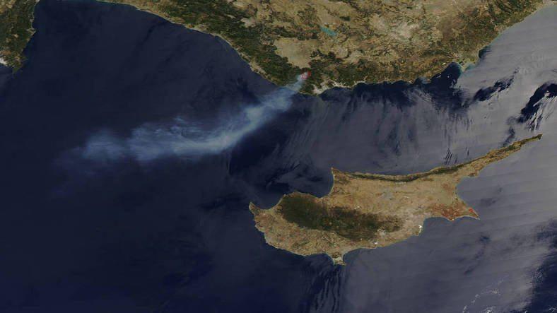 NASA uydusu Anamur'daki orman yangınını görüntüledi