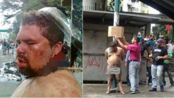 Venezuela'da sağcılar sokak ortasında bir kişiyi linç etti