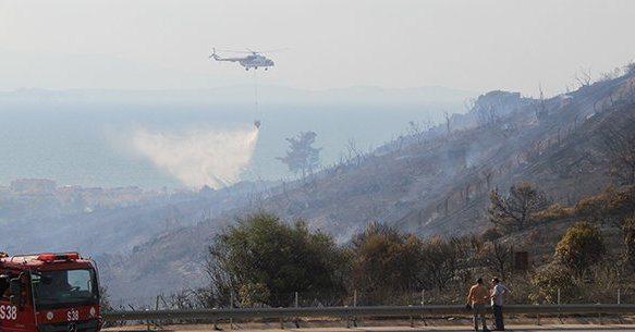 Kapatılan askeri lise arazisinde yangın