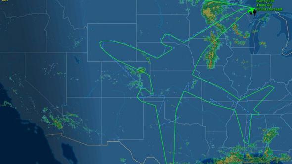 Pilot rotasında yolcu uçağı çizdi