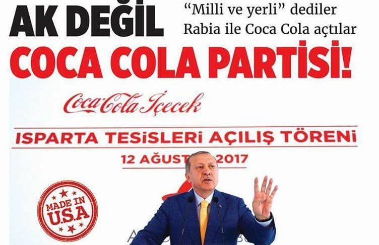 Sosyalist Cumhuriyet gazetesinin yeni sayısında AKP'nin riyakarlığı gündemde: AK değil Coca Cola partisi!