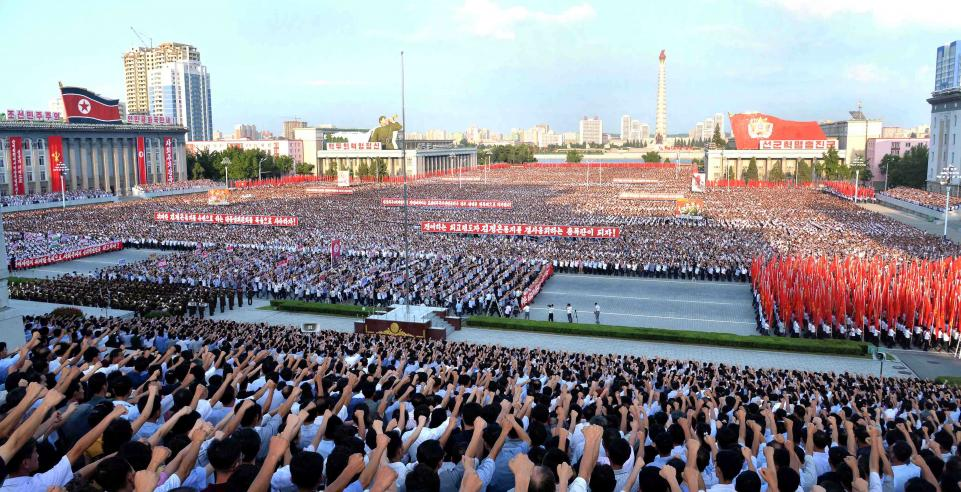 Pyongyang'da ABD emperyalizmine karşı dev miting