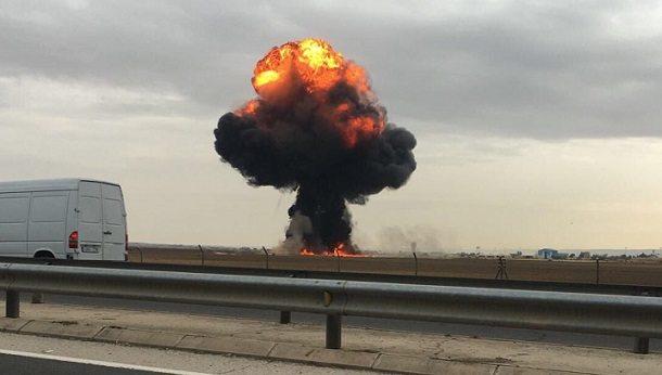 Madrid yakınlarında savaş uçağı düştü