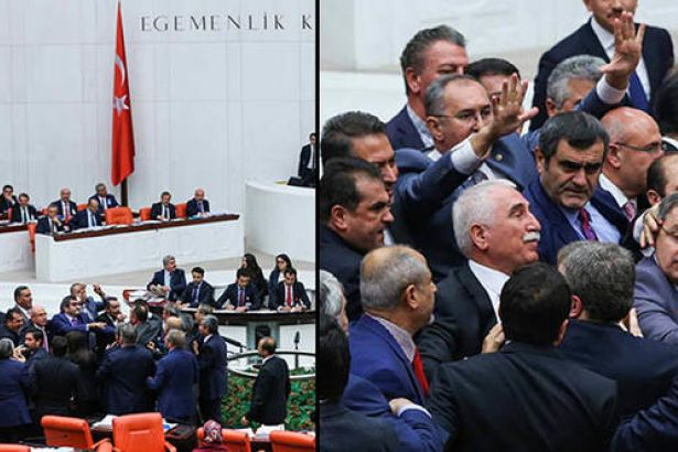 Meclis Genel Kurulu'nda, Erdoğan'a 'Yahudi Cesaret Madalyası' hatırlatması sonrasında arbede yaşandı