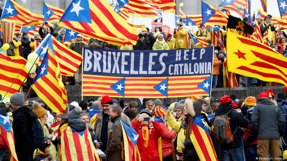 Brüksel'de Katalonya protestosu