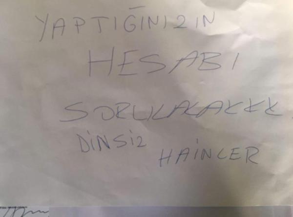 CHP ilçe binasına tehdit yazısı