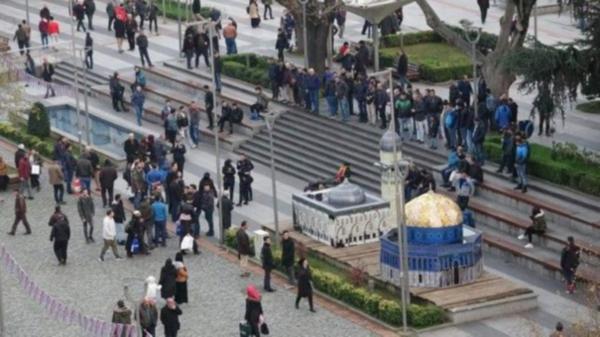 Portekizli turist Mescid-i Aksa maketine yaslandı, Trabzon karıştı