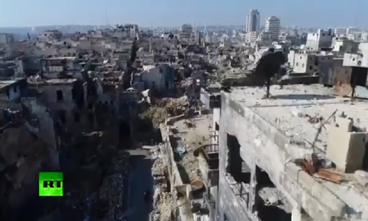 VİDEO | Cihatçılardan geri alınan Halep'teki yıkım havadan görüntülendi