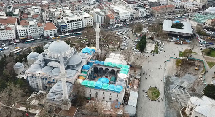 Beyazıt Meydanı'nda çevre düzenleme çalışmaları durdu