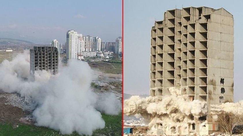 300 kilo dinamitle yıkılmayan bina kendiliğinden çöktü