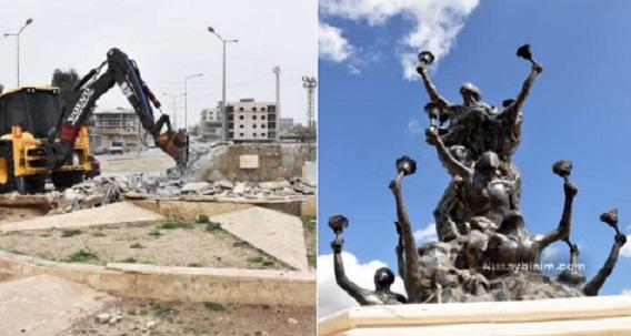 Nusaybin'de kayyım,'92 Newrozu'nda öldürülen anısına yapılan anıtı yıktı