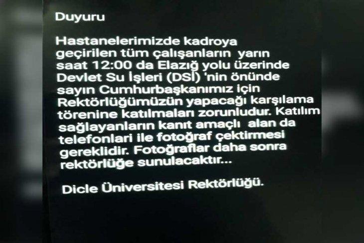 Rektörlükten skandal mesaj: Erdoğan'ın mitingine katılmak zorunludur, kanıt için fotoğraf çektirilecektir