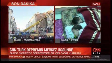 CNN Türk deprem bölgesi yayını: İnsanlar çadır aldıkları için mutlu!