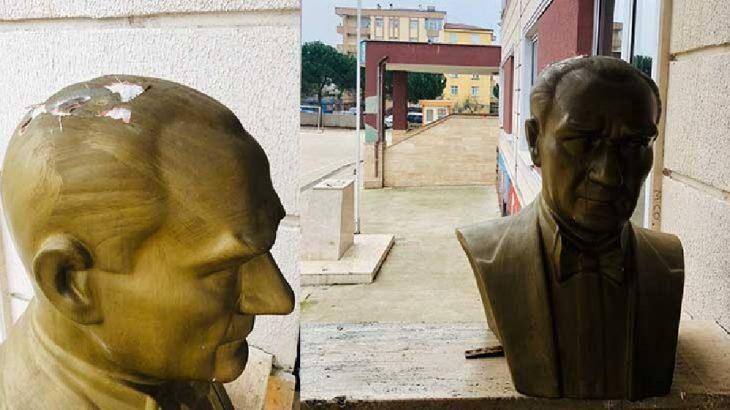 Okul bahçesindeki Atatürk büstünü kırıp yere attılar