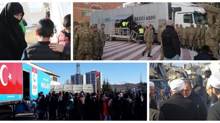 Deprem bölgesinde halk ve askerler cemaatlere muhtaç edildi