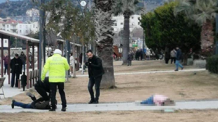 İzmir Dikili'de parkta eşini vuran şahıs polis gelinceye kadar başında bekledi